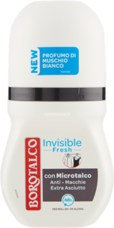 BOROTALCO DEODORANTE  INVISIBLE FRESH EX WHITE R-ON  ML.50
